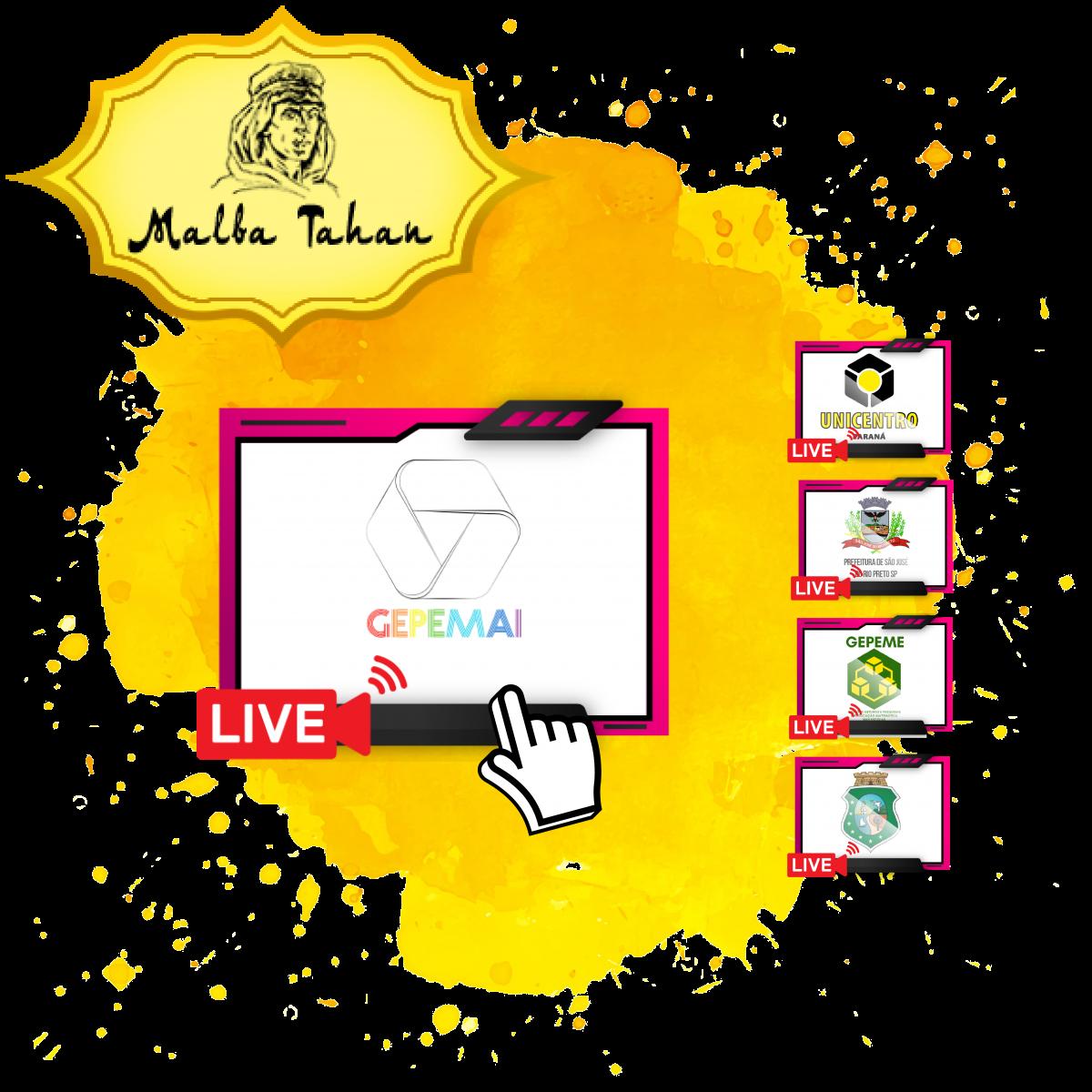 Post com borrão de tinta laranja ao fundo com 05 telas de vídeos por cima com logos de diversas Universidades do Brasil. Um cursor em formato de mão clica no vídeo do GEPEMAI
